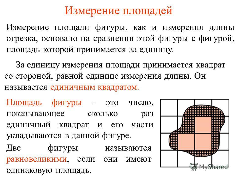 Измерение площадей Измерение площади фигуры, как и измерения длины отрезка, основано на сравнении этой фигуры с фигурой, площадь которой принимается за единицу. Площадь фигуры – это число, показывающее сколько раз единичный квадрат и его части уклады