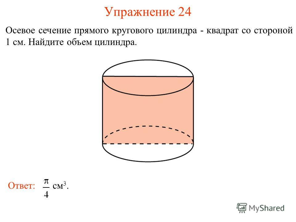 Упражнение 24 Осевое сечение прямого кругового цилиндра - квадрат со стороной 1 см. Найдите объем цилиндра. Ответ: см 3.