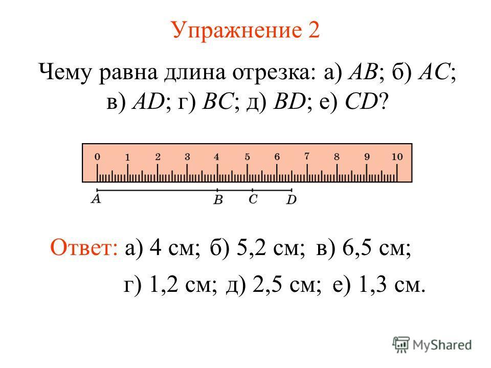 Упражнение 2 Чему равна длина отрезка: а) AB; б) AC; в) AD; г) BC; д) BD; е) CD? Ответ: а) 4 см;б) 5,2 см;в) 6,5 см; г) 1,2 см;д) 2,5 см;е) 1,3 см.