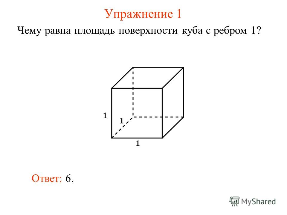 Упражнение 1 Чему равна площадь поверхности куба с ребром 1? Ответ: 6.