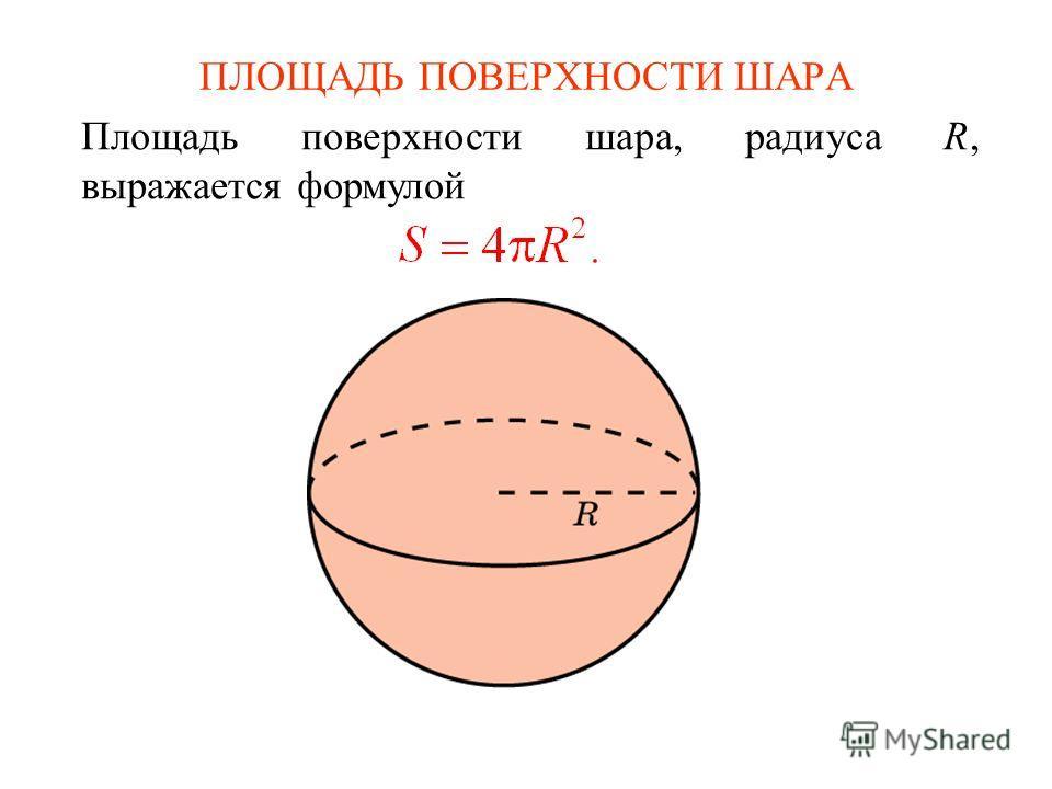 ПЛОЩАДЬ ПОВЕРХНОСТИ ШАРА Площадь поверхности шара, радиуса R, выражается формулой