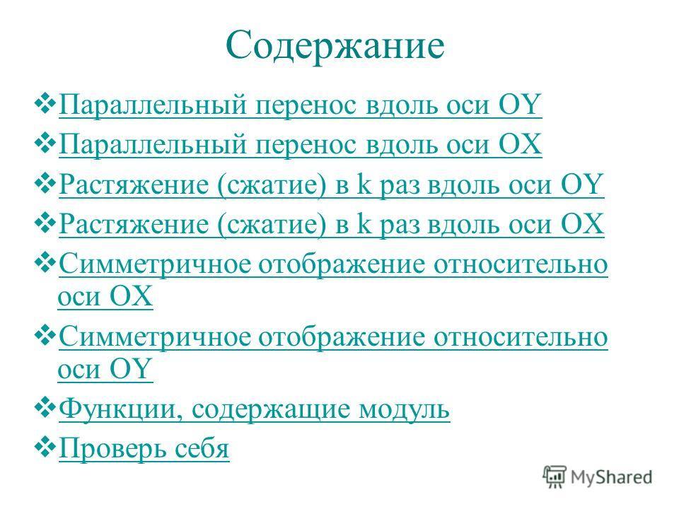 Содержание Параллельный перенос вдоль оси OY Параллельный перенос вдоль оси OY Параллельный перенос вдоль оси OX Параллельный перенос вдоль оси OX Растяжение (сжатие) в k раз вдоль оси OY Растяжение (сжатие) в k раз вдоль оси OY Растяжение (сжатие) в