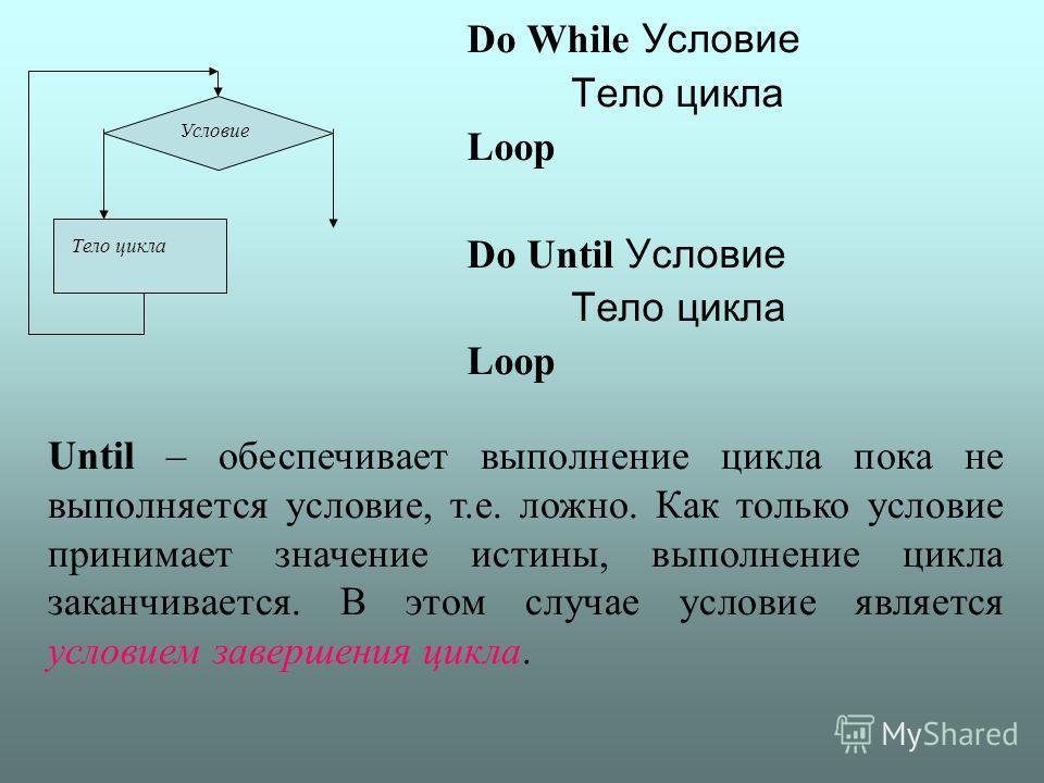Do While Условие Тело цикла Loop Do Until Условие Тело цикла Loop Условие Тело цикла Until – обеспечивает выполнение цикла пока не выполняется условие, т.е. ложно. Как только условие принимает значение истины, выполнение цикла заканчивается. В этом с