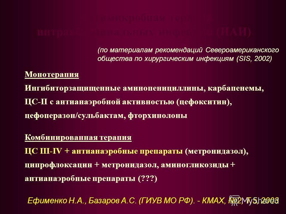 Антимикробная терапия интраабдоминальных инфекций (ИАИ) Монотерапия Ингибиторзащищенные аминопенициллины, карбапенемы, ЦС-II с антианаэробной активностью (цефокситин), цефоперазон/сульбактам, фторхинолоны Комбинированная терапия ЦС III-IV + антианаэр