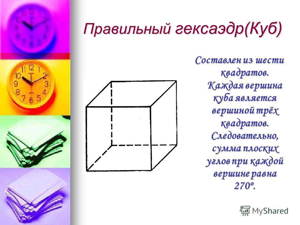 Правильный гексаэдр(Куб) Составлен из шести квадратов. Каждая вершина куба является вершиной трёх квадратов. Следовательно, сумма плоских углов при каждой вершине равна 270º.