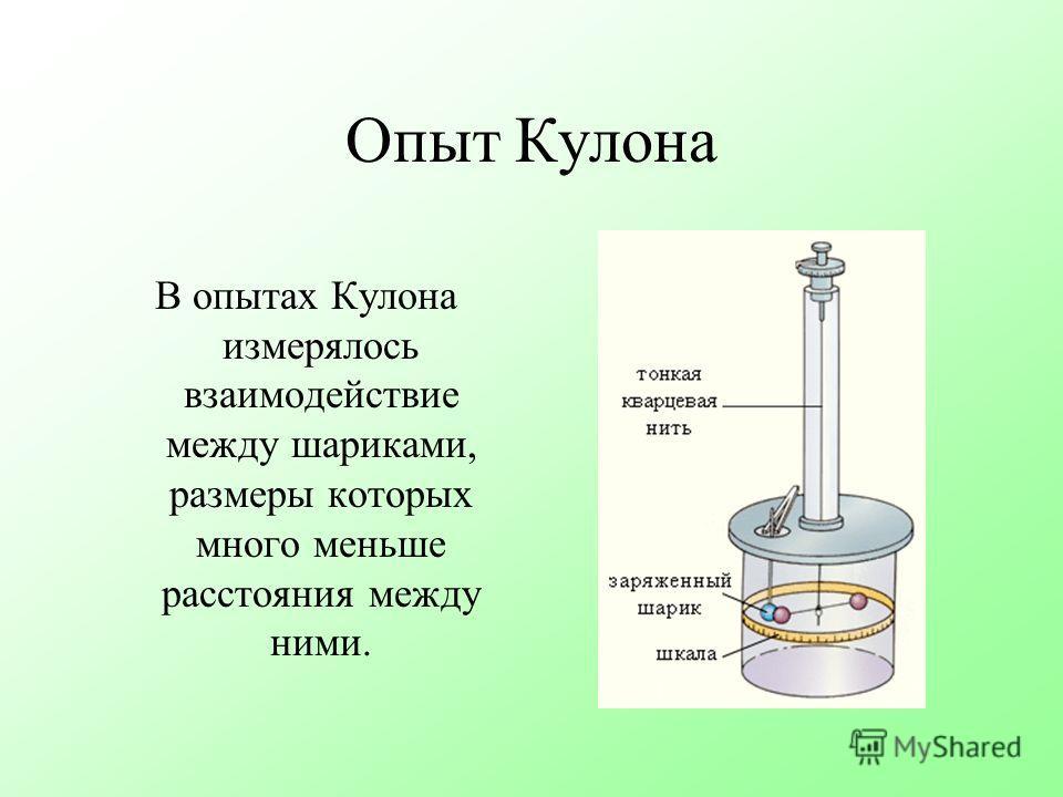 Опыт Кулона В опытах Кулона измерялось взаимодействие между шариками, размеры которых много меньше расстояния между ними.