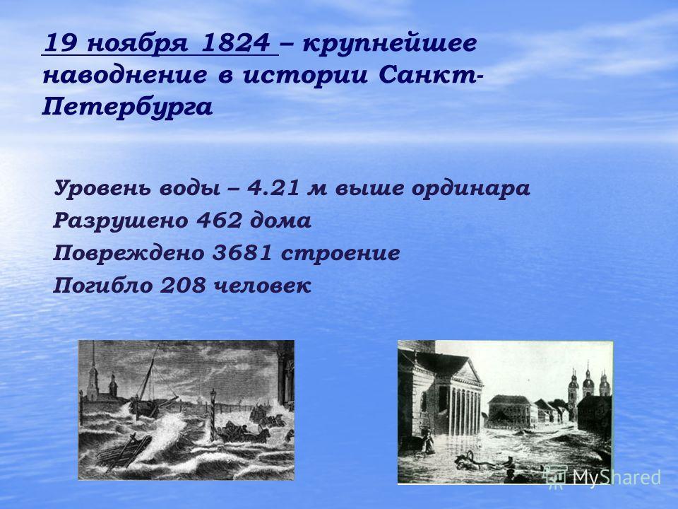 19 ноября 1824 – крупнейшее наводнение в истории Санкт- Петербурга Уровень воды – 4.21 м выше ординара Разрушено 462 дома Повреждено 3681 строение Погибло 208 человек