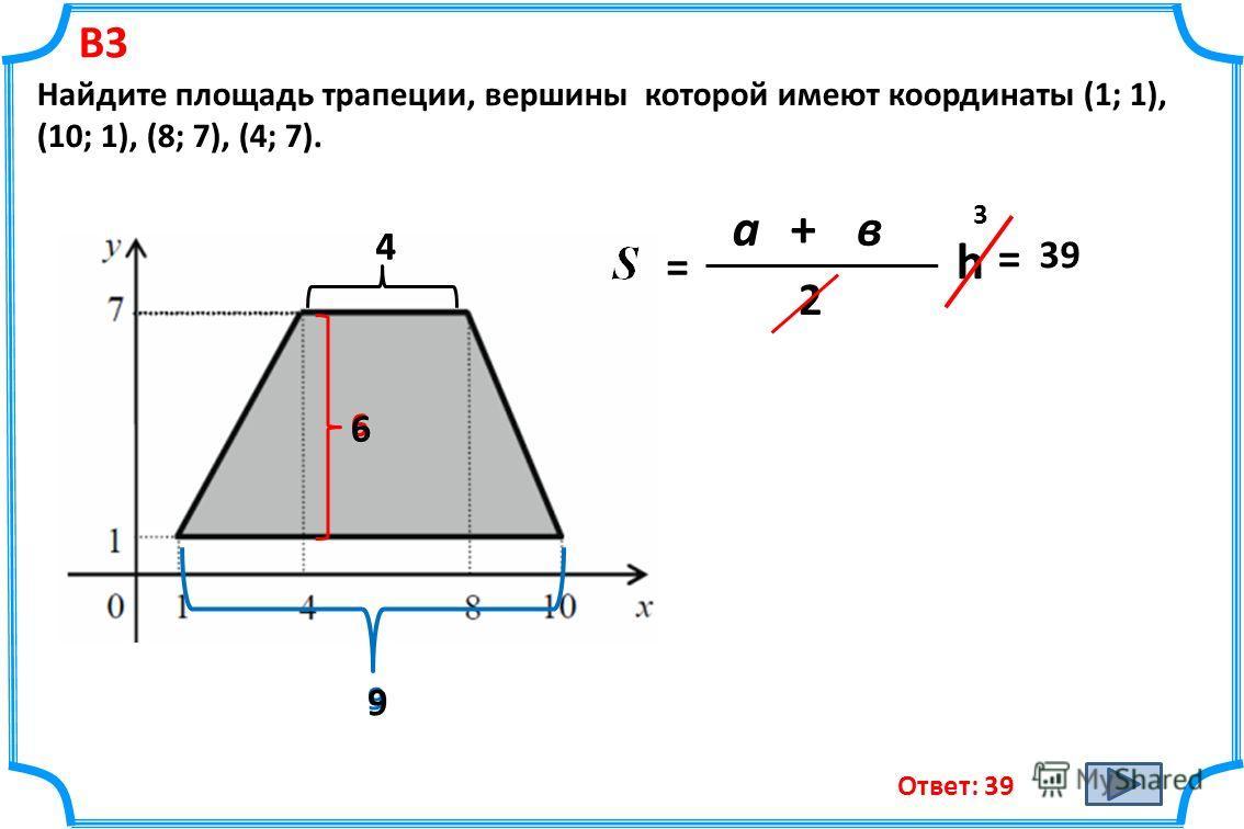 В3 Найдите площадь трапеции, вершины которой имеют координаты (1; 1), (10; 1), (8; 7), (4; 7). Ответ: 39 = а+в 2 h 4 9 6 4 9 6 = 3 39