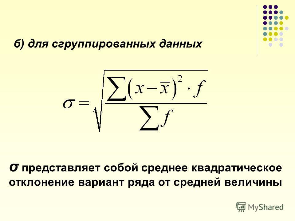 4.Среднее квадратическое отклонение а) для несгруппированных данных