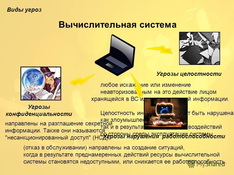 Вычислительная система Угрозы конфиденциальности направлены на разглашение секретной информации. Также они называются