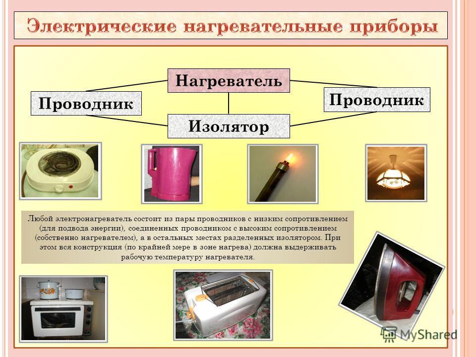 Проводник Нагреватель Изолятор Проводник Любой электронагреватель состоит из пары проводников с низким сопротивлением (для подвода энергии), соединенных проводником с высоким сопротивлением (собственно нагревателем), а в остальных местах разделенных