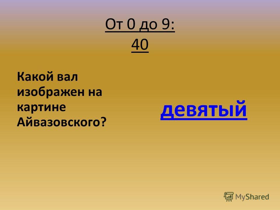 От 0 до 9: 40 Какой вал изображен на картине Айвазовского? девятый
