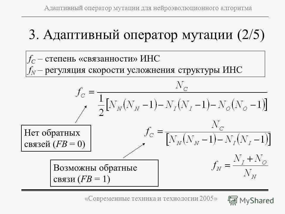 «Современные техника и технологии 2005» Адаптивный оператор мутации для нейроэволюционного алгоритма f C – степень «связанности» ИНС f N – регуляция скорости усложнения структуры ИНС 3. Адаптивный оператор мутации (2/5) Нет обратных связей (FB = 0) В
