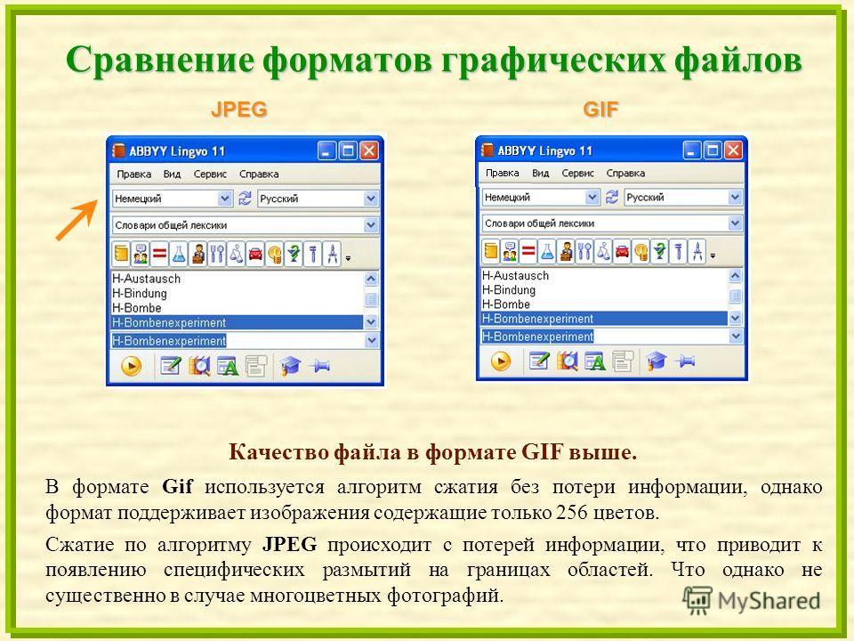 Сравнение форматов графических файлов JPEGGIF Качество файла в формате GIF выше. В формате Gif используется алгоритм сжатия без потери информации, однако формат поддерживает изображения содержащие только 256 цветов. Сжатие по алгоритму JPEG происходи