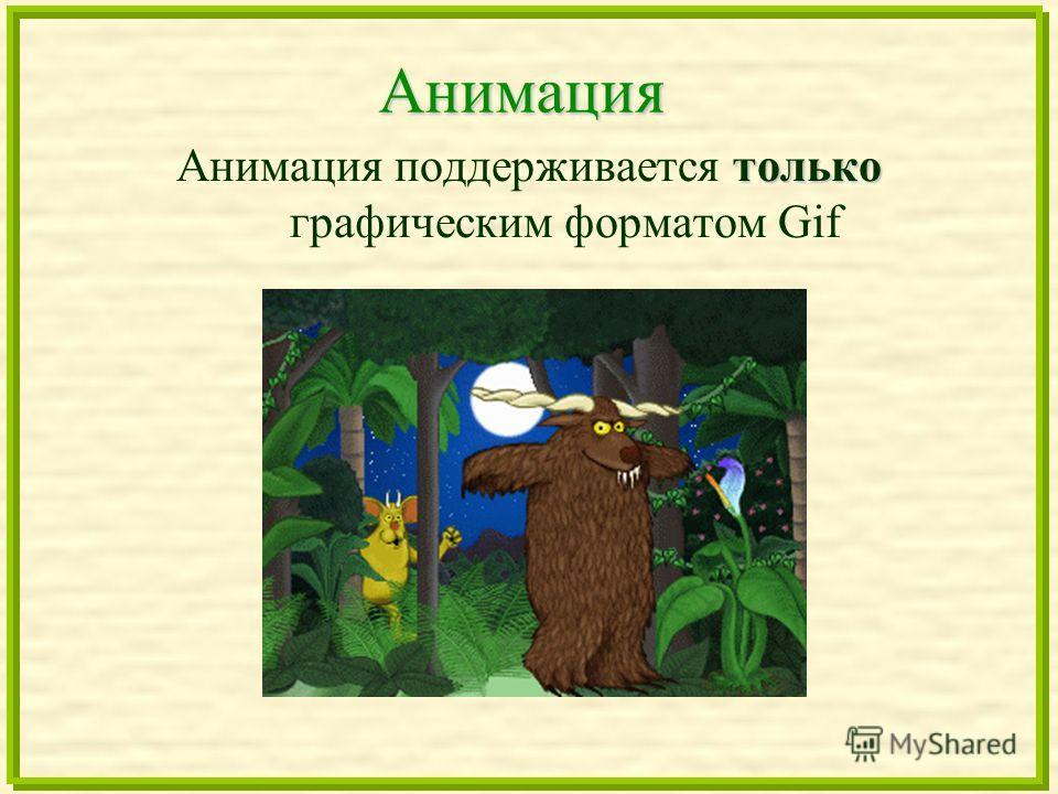 Анимация только Анимация поддерживается только графическим форматом Gif