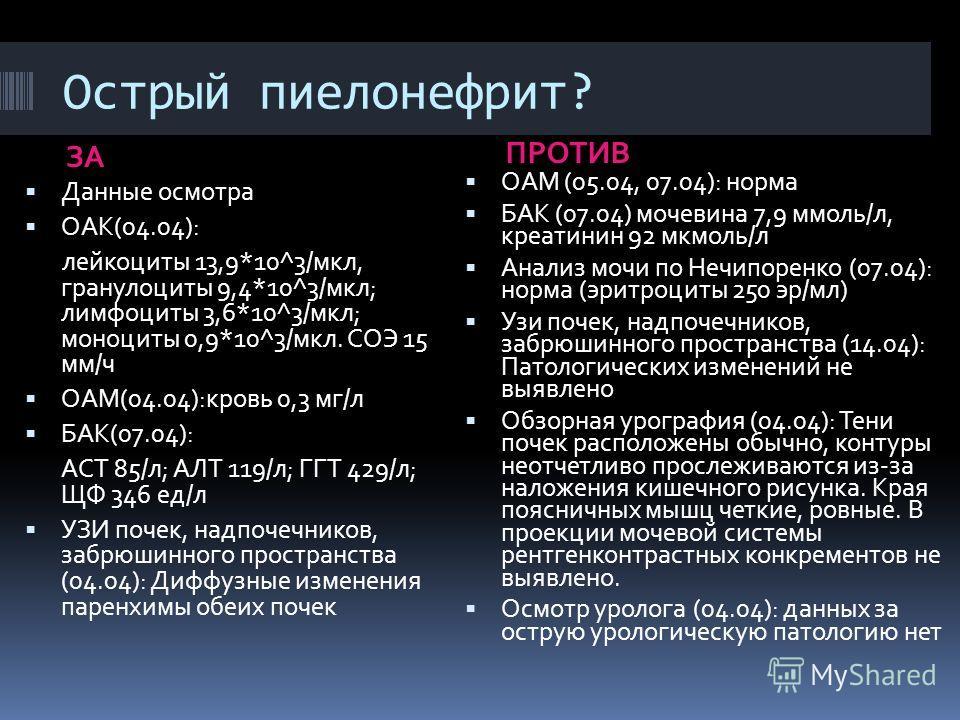 Острый пиелонефрит? ЗА ПРОТИВ Данные осмотра ОАК(04.04): лейкоциты 13,9*10^3/мкл, гранулоциты 9,4*10^3/мкл; лимфоциты 3,6*10^3/мкл; моноциты 0,9*10^3/мкл. СОЭ 15 мм/ч ОАМ(04.04):кровь 0,3 мг/л БАК(07.04): АСТ 85/л; АЛТ 119/л; ГГТ 429/л; ЩФ 346 ед/л У