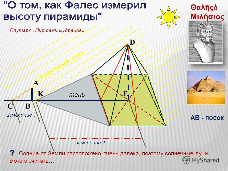 Солнечный свет BC измерение 2 тень KE D Θαλ ς Μιλήσιος A измерение 1 ? ? Солнце от Земли расположено очень далеко, поэтому солнечные лучи можно считать… АВ - посох Плутарх «Пир семи мудрецов»