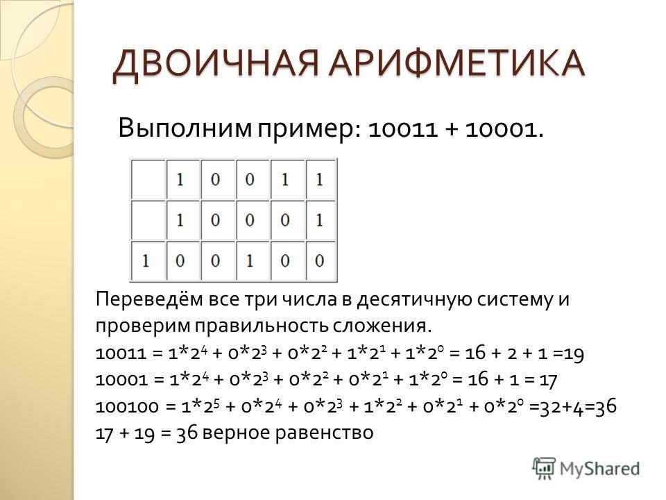 ДВОИЧНАЯ АРИФМЕТИКА Выполним пример : 10011 + 10001. Переведём все три числа в десятичную систему и проверим правильность сложения. 10011 = 1*2 4 + 0*2 3 + 0*2 2 + 1*2 1 + 1*2 0 = 16 + 2 + 1 =19 10001 = 1*2 4 + 0*2 3 + 0*2 2 + 0*2 1 + 1*2 0 = 16 + 1