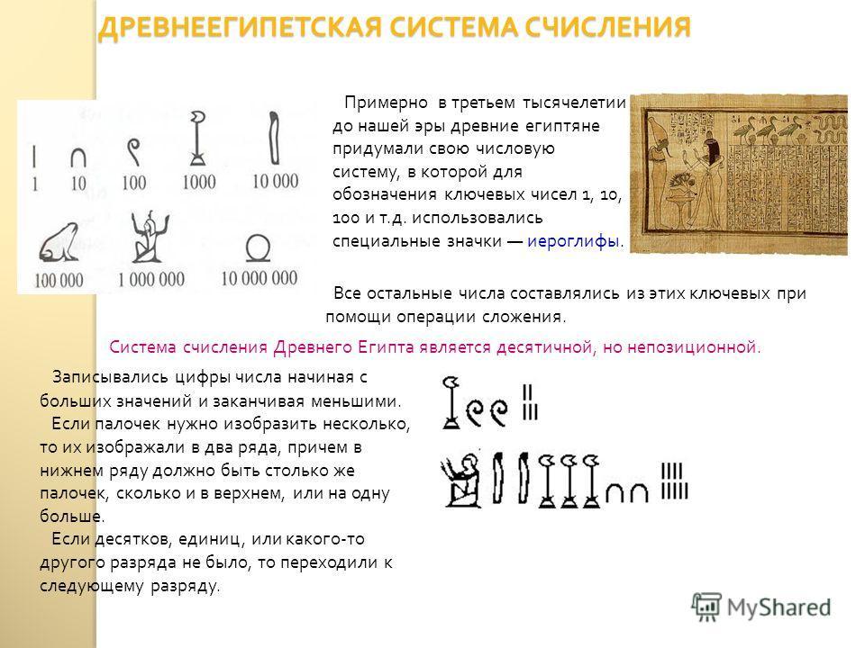 ДРЕВНЕЕГИПЕТСКАЯ СИСТЕМА СЧИСЛЕНИЯ Примерно в третьем тысячелетии до нашей эры древние египтяне придумали свою числовую систему, в которой для обозначения ключевых чисел 1, 10, 100 и т. д. использовались специальные значки иероглифы. Записывались циф
