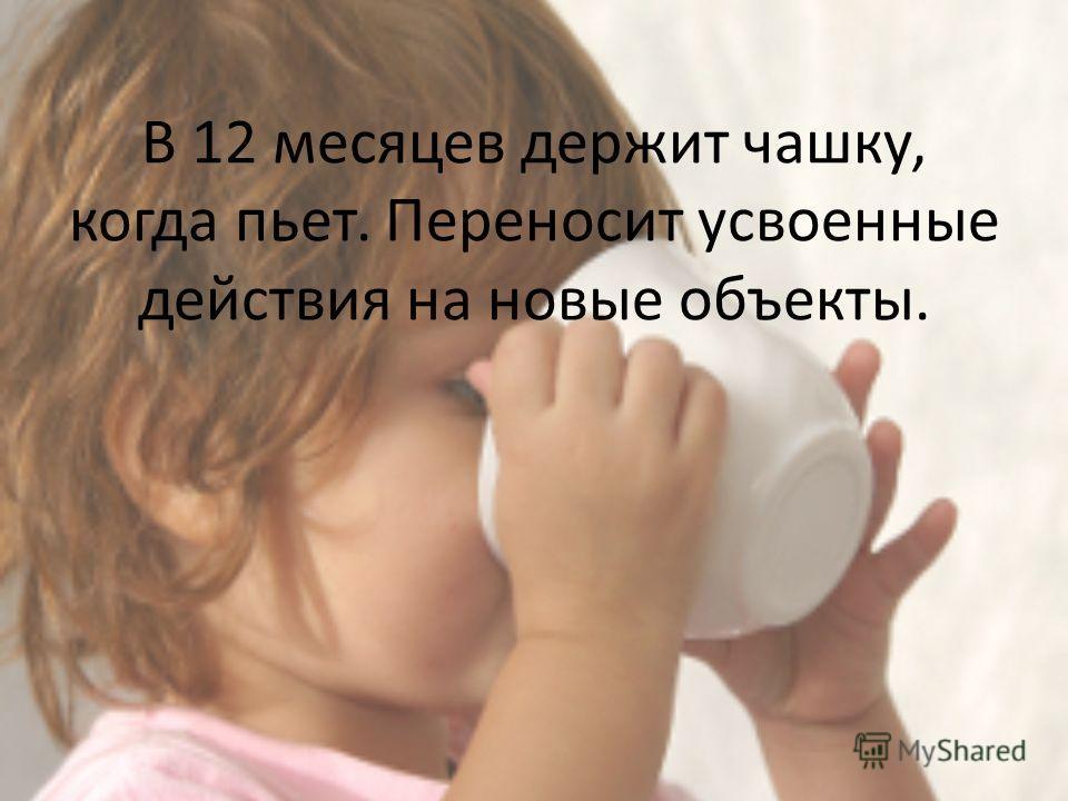 В 12 месяцев держит чашку, когда пьет. Переносит усвоенные действия на новые объекты.