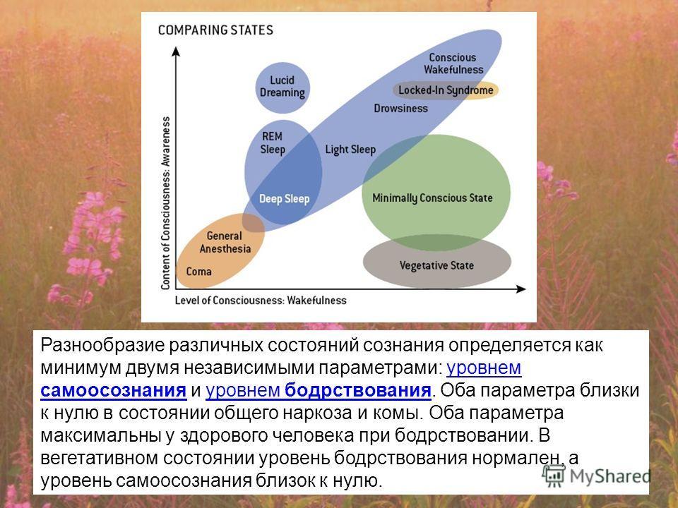 Разнообразие различных состояний сознания определяется как минимум двумя независимыми параметрами: уровнем самоосознания и уровнем бодрствования. Оба параметра близки к нулю в состоянии общего наркоза и комы. Оба параметра максимальны у здорового чел