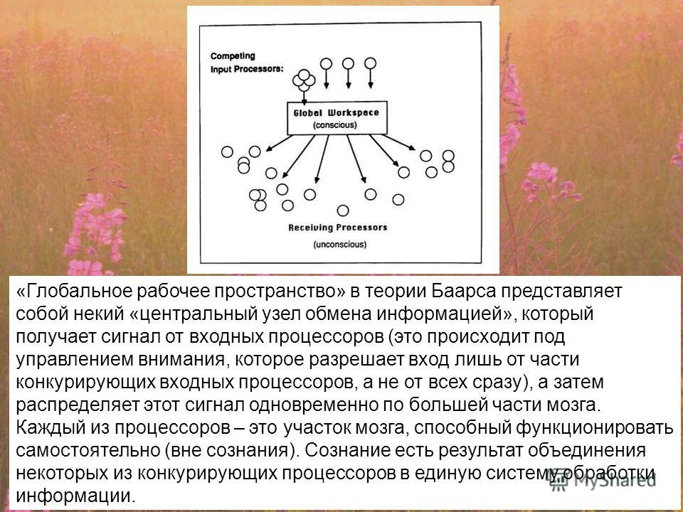 «Глобальное рабочее пространство» в теории Баарса представляет собой некий «центральный узел обмена информацией», который получает сигнал от входных процессоров (это происходит под управлением внимания, которое разрешает вход лишь от части конкурирую