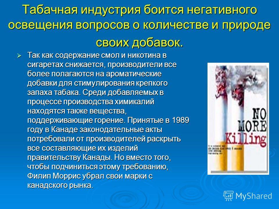 Табачная индустрия боится негативного освещения вопросов о количестве и природе своих добавок. Так как содержание смол и никотина в сигаретах снижается, производители все более полагаются на ароматические добавки для стимулирования крепкого запаха та