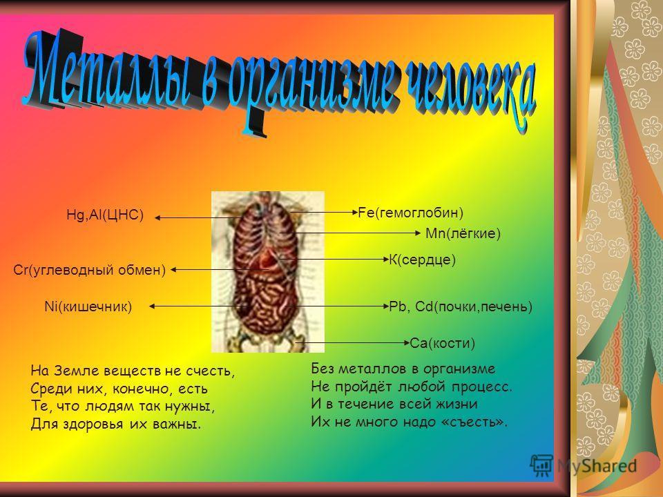 Мn(лёгкие) Ca(кости) К(сердце) Ni(кишечник)Pb, Cd(почки,печень) Hg,Al(ЦНС) Cr(углеводный обмен) Fe(гемоглобин) На Земле веществ не счесть, Среди них, конечно, есть Те, что людям так нужны, Для здоровья их важны. Без металлов в организме Не пройдёт лю