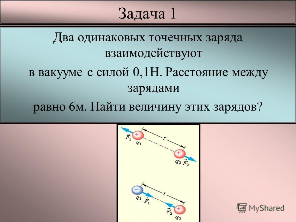 Задача 1 Два одинаковых точечных заряда взаимодействуют в вакууме с силой 0,1Н. Расстояние между зарядами равно 6м. Найти величину этих зарядов?