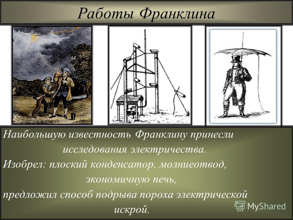 Работы Франклина Наибольшую известность Франклину принесли исследования электричества. Изобрел: плоский конденсатор, молниеотвод, экономичную печь, предложил способ подрыва пороха электрической искрой.