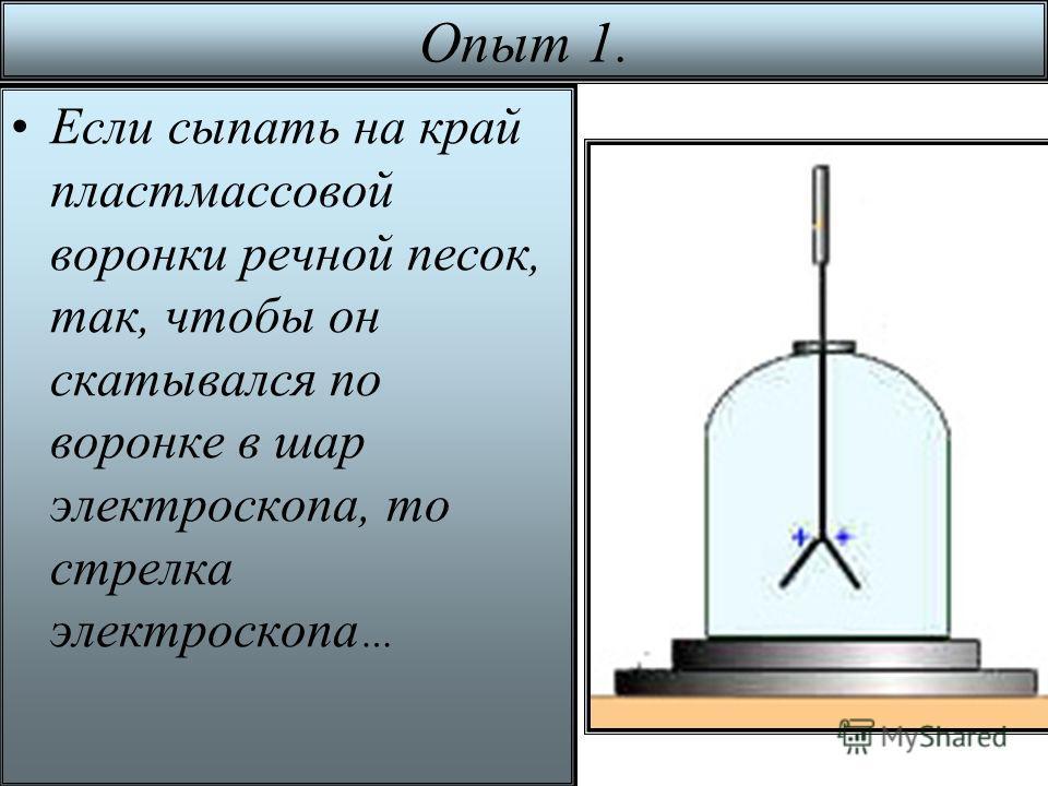 Опыт 1. Если сыпать на край пластмассовой воронки речной песок, так, чтобы он скатывался по воронке в шар электроскопа, то стрелка электроскопа …