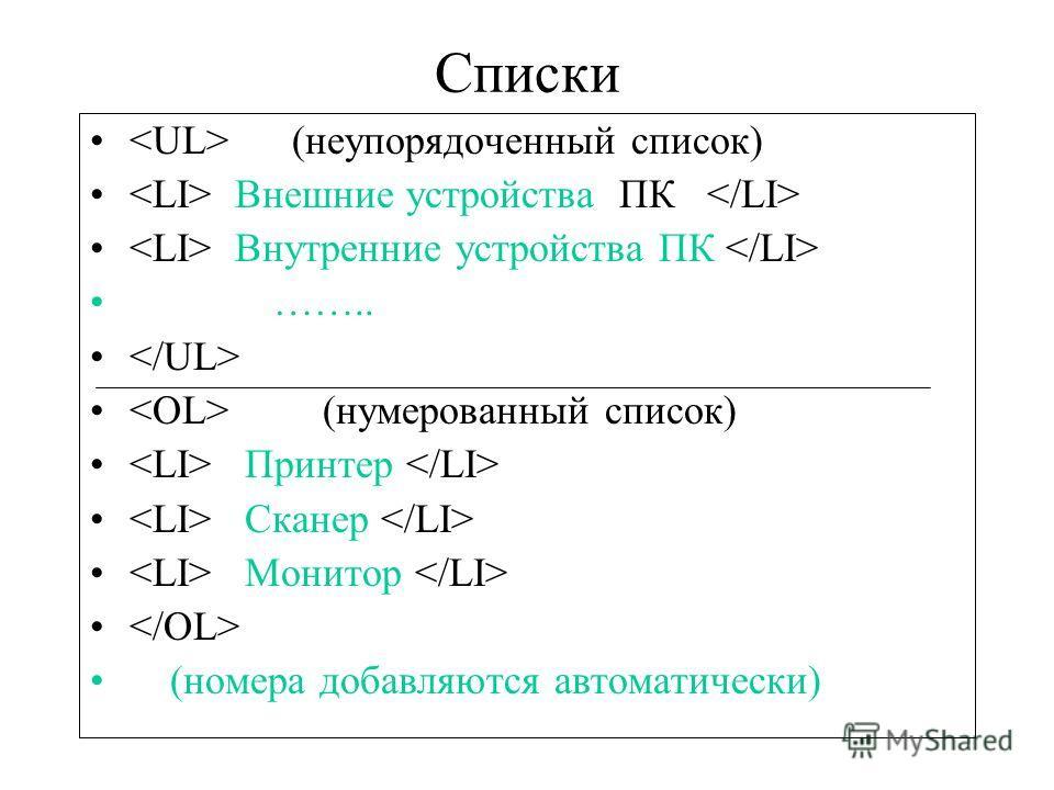 Списки (неупорядоченный список) Внешние устройства ПК Внутренние устройства ПК …….. (нумерованный список) Принтер Сканер Монитор (номера добавляются автоматически)