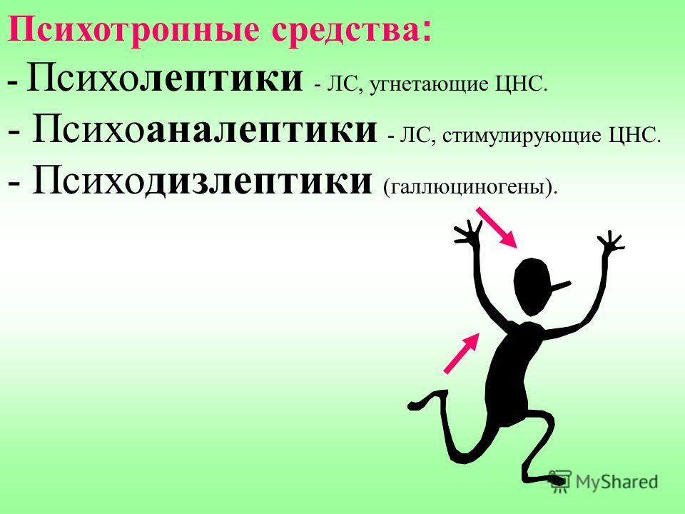 Психотропные средства : - Психолептики - ЛС, угнетающие ЦНС. - Психоаналептики - ЛС, стимулирующие ЦНС. - Психодизлептики (галлюциногены).