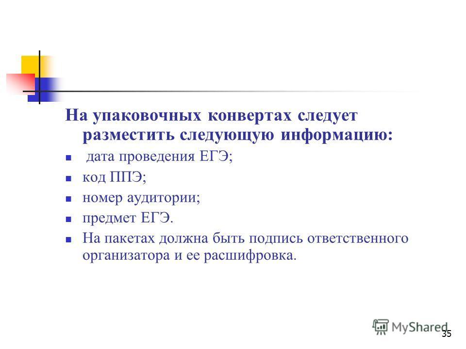 35 На упаковочных конвертах следует разместить следующую информацию: дата проведения ЕГЭ; код ППЭ; номер аудитории; предмет ЕГЭ. На пакетах должна быть подпись ответственного организатора и ее расшифровка.