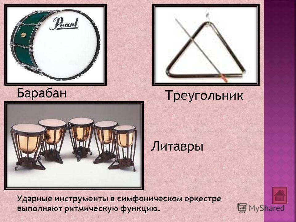 Треугольник Ударные инструменты в симфоническом оркестре выполняют ритмическую функцию. Барабан Литавры