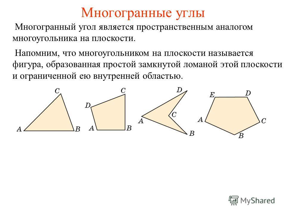Многогранные углы Напомним, что многоугольником на плоскости называется фигура, образованная простой замкнутой ломаной этой плоскости и ограниченной ею внутренней областью. Многогранный угол является пространственным аналогом многоугольника на плоско