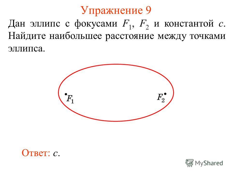 Упражнение 9 Дан эллипс с фокусами F 1, F 2 и константой c. Найдите наибольшее расстояние между точками эллипса. Ответ: c.