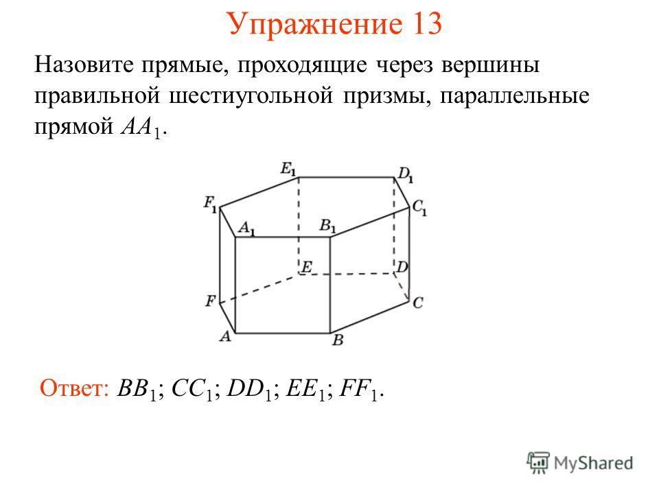 Ответ: BB 1 ; CC 1 ; DD 1 ; EE 1 ; FF 1. Назовите прямые, проходящие через вершины правильной шестиугольной призмы, параллельные прямой AA 1. Упражнение 13