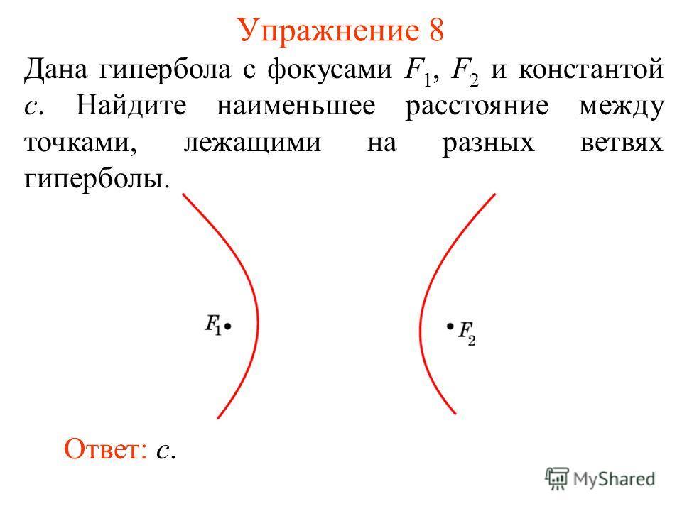 Упражнение 8 Дана гипербола с фокусами F 1, F 2 и константой c. Найдите наименьшее расстояние между точками, лежащими на разных ветвях гиперболы. Ответ: c.