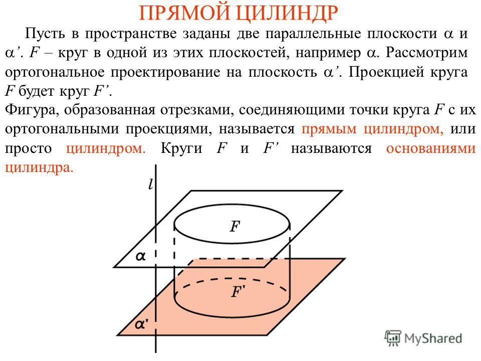 ПРЯМОЙ ЦИЛИНДР Пусть в пространстве заданы две параллельные плоскости и. F – круг в одной из этих плоскостей, например. Рассмотрим ортогональное проектирование на плоскость. Проекцией круга F будет круг F. Фигура, образованная отрезками, соединяющими