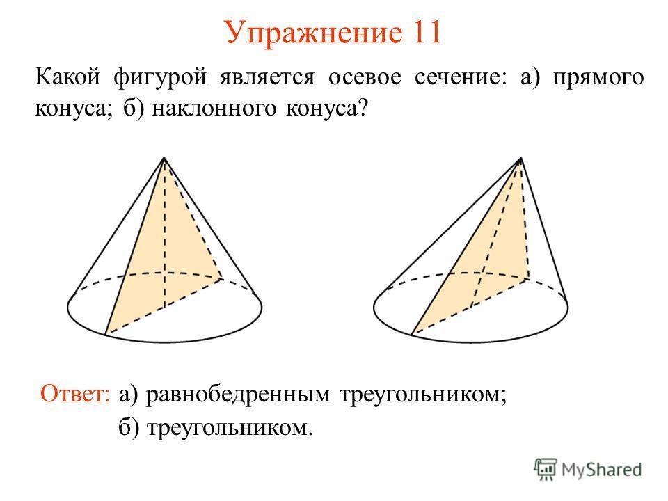 Упражнение 11 Какой фигурой является осевое сечение: а) прямого конуса; б) наклонного конуса? Ответ: а) равнобедренным треугольником; б) треугольником.