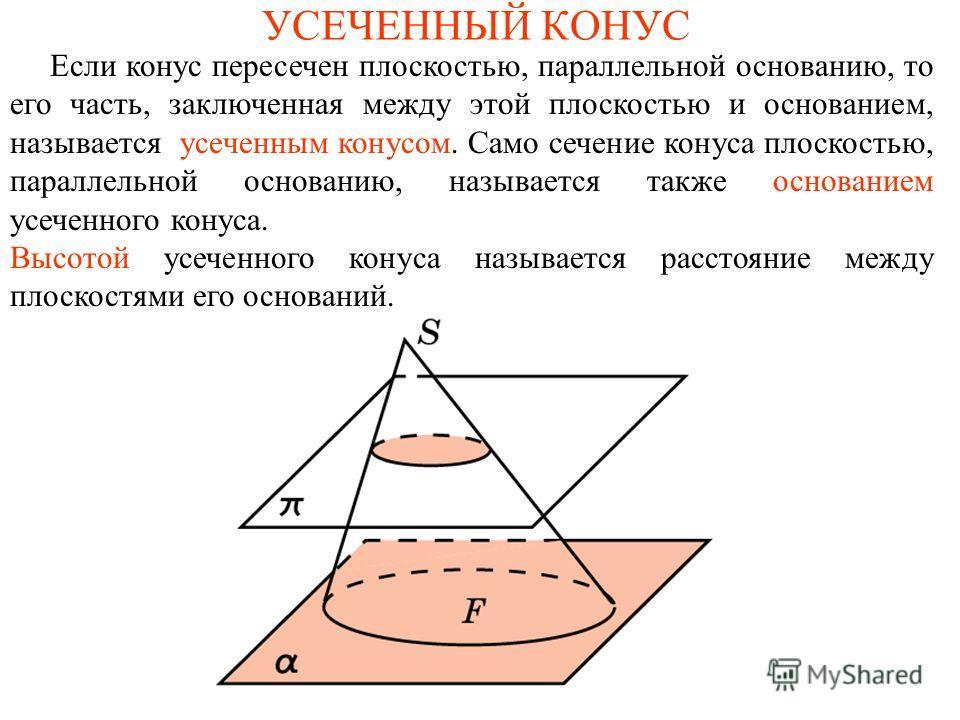 УСЕЧЕННЫЙ КОНУС Если конус пересечен плоскостью, параллельной основанию, то его часть, заключенная между этой плоскостью и основанием, называется усеченным конусом. Само сечение конуса плоскостью, параллельной основанию, называется также основанием у