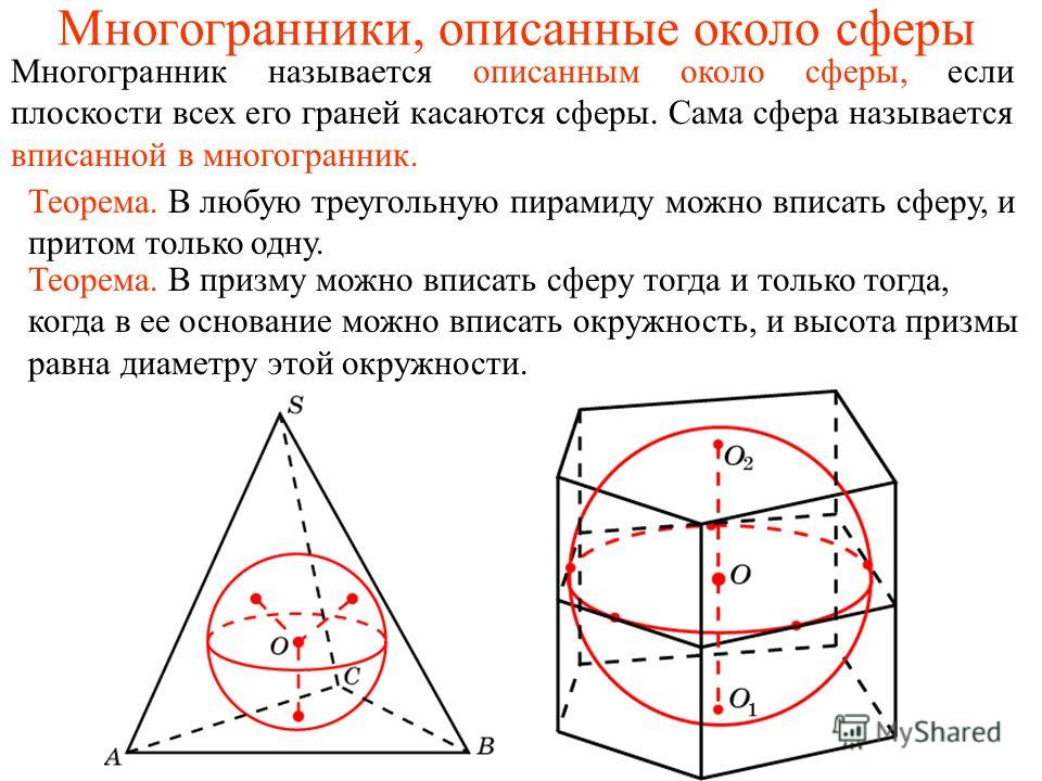 Многогранники, описанные около сферы Многогранник называется описанным около сферы, если плоскости всех его граней касаются сферы. Сама сфера называется вписанной в многогранник. Теорема. В призму можно вписать сферу тогда и только тогда, когда в ее