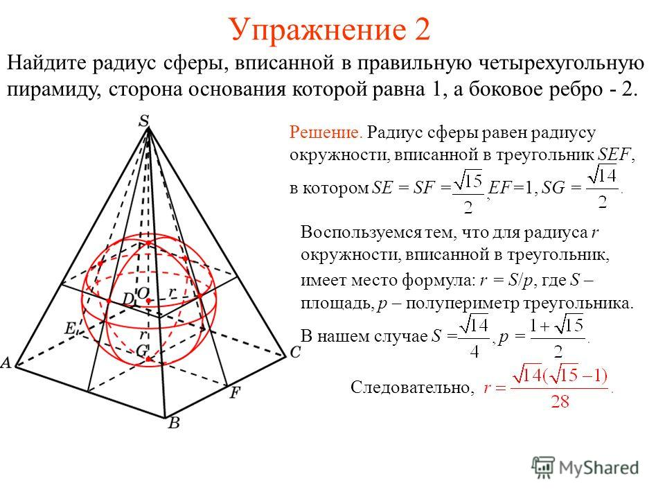 Упражнение 2 Найдите радиус сферы, вписанной в правильную четырехугольную пирамиду, сторона основания которой равна 1, а боковое ребро - 2. Воспользуемся тем, что для радиуса r окружности, вписанной в треугольник, имеет место формула: r = S/p, где S