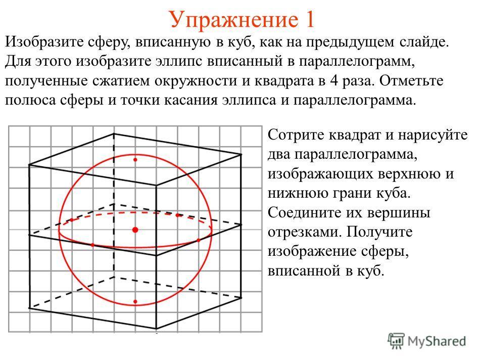 Упражнение 1 Сотрите квадрат и нарисуйте два параллелограмма, изображающих верхнюю и нижнюю грани куба. Соедините их вершины отрезками. Получите изображение сферы, вписанной в куб. Изобразите сферу, вписанную в куб, как на предыдущем слайде. Для этог