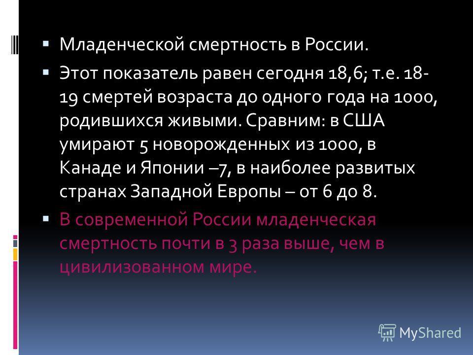 Младенческой смертность в России. Этот показатель равен сегодня 18,6; т.е. 18- 19 смертей возраста до одного года на 1000, родившихся живыми. Сравним: в США умирают 5 новорожденных из 1000, в Канаде и Японии –7, в наиболее развитых странах Западной Е