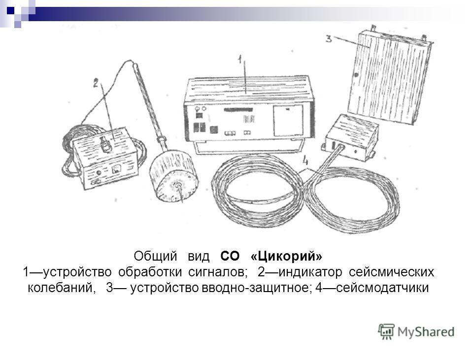 Общий вид СО «Цикорий» 1устройство обработки сигналов; 2индикатор сейсмических колебаний, 3 устройство вводно-защитное; 4сейсмодатчики