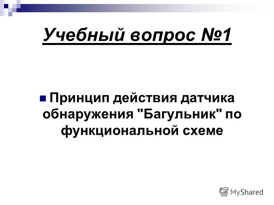 Учебный вопрос 1 Принцип действия датчика обнаружения Багульник по функциональной схеме