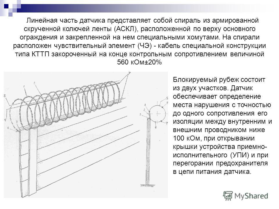 Линейная часть датчика представляет собой спираль из армированной скрученной колючей ленты (АСКЛ), расположенной по верху основного ограждения и закрепленной на нем специальными хомутами. На спирали расположен чувствительный элемент (ЧЭ) - кабель спе