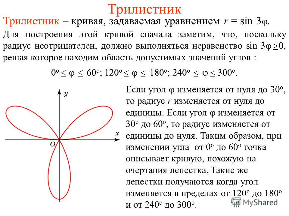 Трилистник Трилистник – кривая, задаваемая уравнением r = sin 3. Для построения этой кривой сначала заметим, что, поскольку радиус неотрицателен, должно выполняться неравенство sin 3 0, решая которое находим область допустимых значений углов : Если у